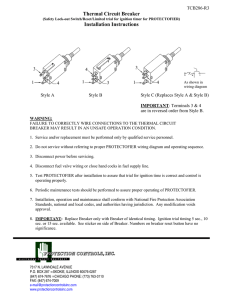 Thermal Circuit Breaker Installation Instructions