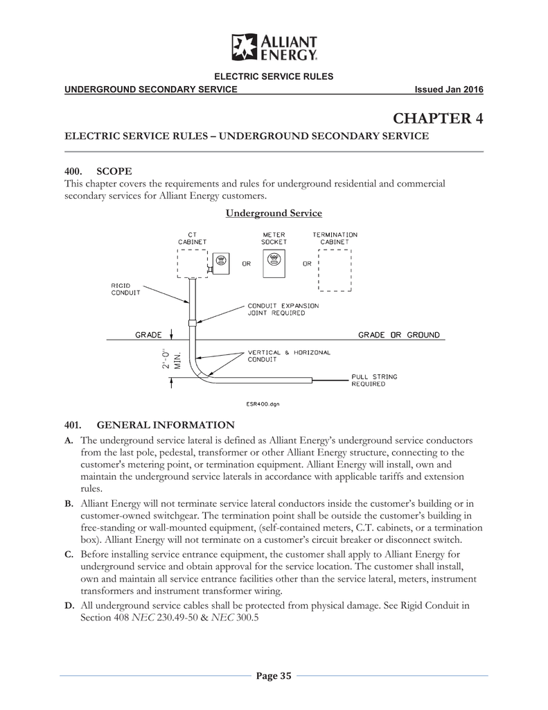 Chapter 4 Alliant Energy Underground Electrical Wire Besides Conduit On