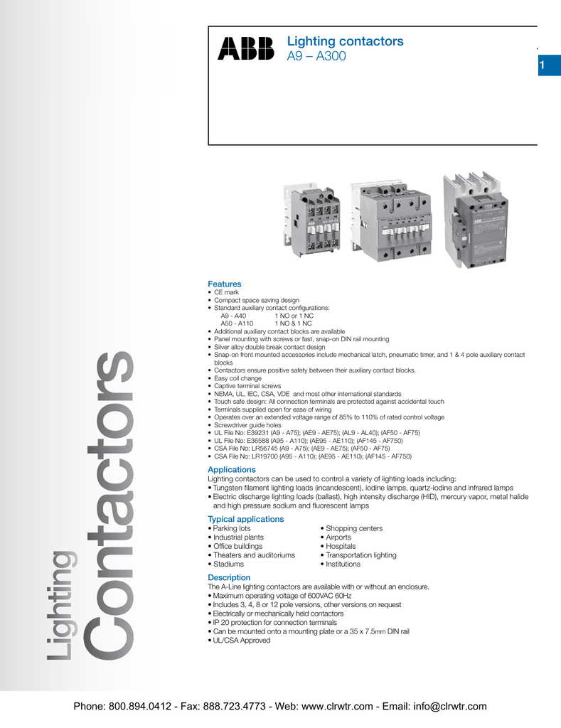 ABB A9 to A300 Lighting Contactors Abb Wiring Diagram on