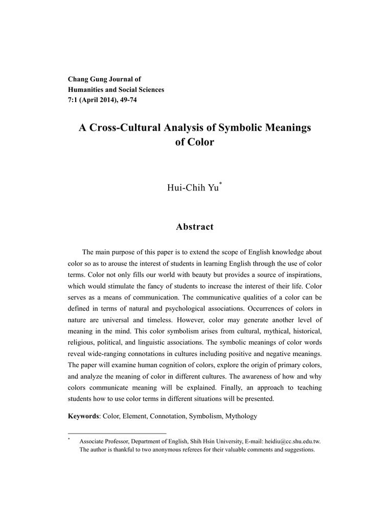 A Cross Cultural Analysis Of Symbolic Meanings Of Color