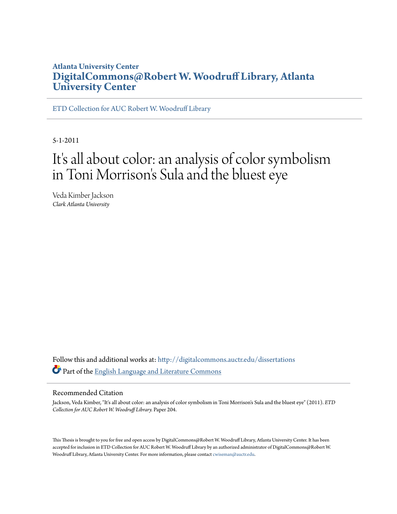 Its All About Color An Analysis Of Color Symbolism In Toni Morrisons