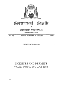 lic`ences and permits valid until 30 june 1988