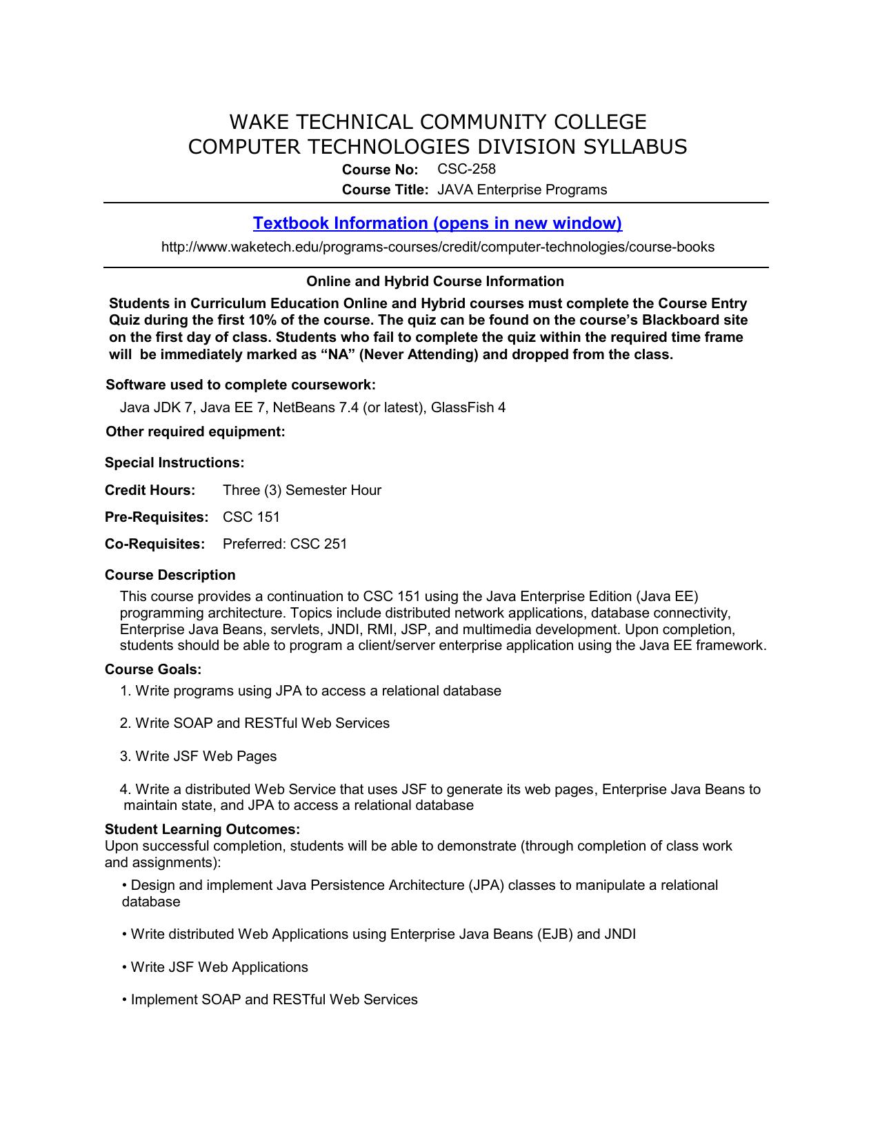 CSC-258 - Wake Technical Community College