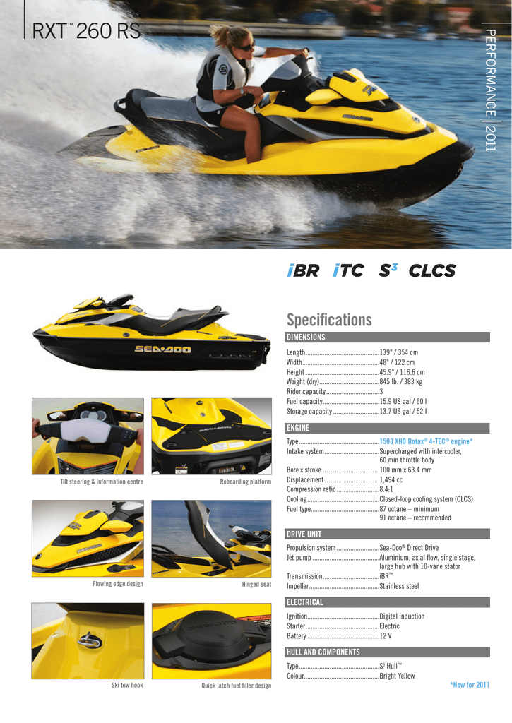 SEA-DOO SPECIFICATIONS -- PERFORMANCE|2011 -