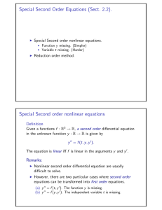 Special Second Order Equations