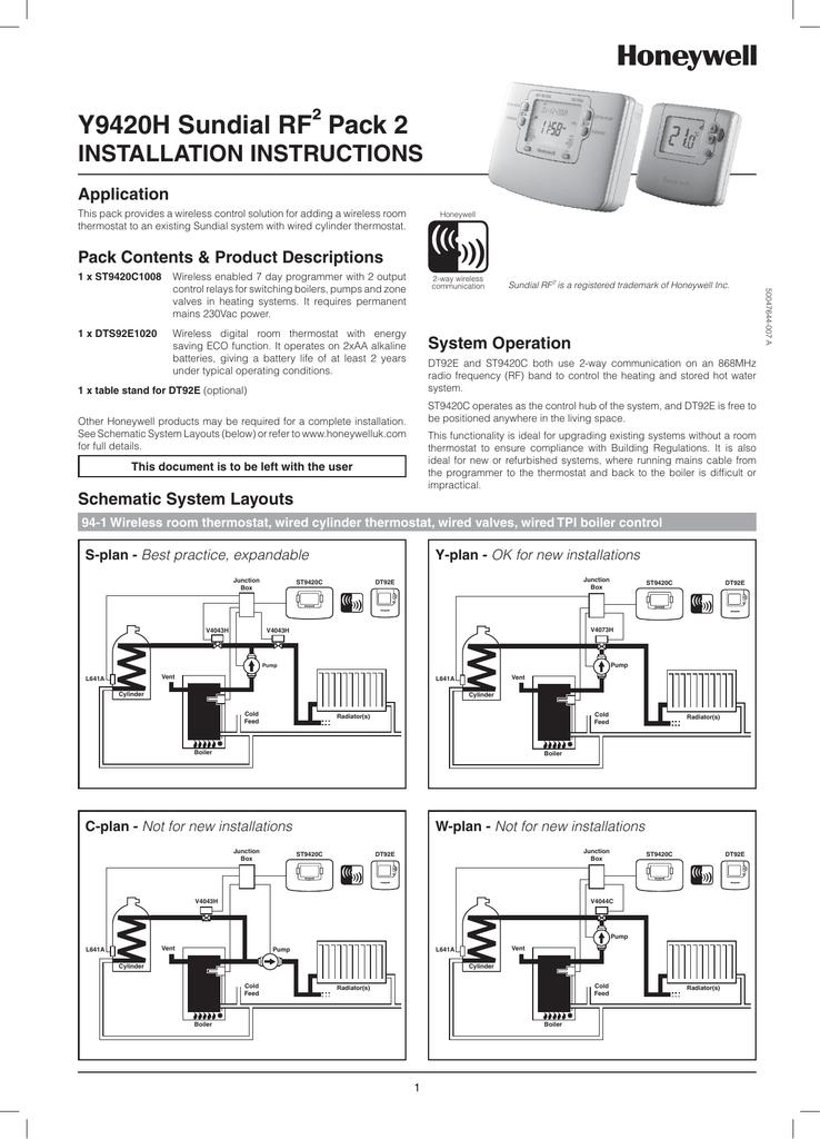 Honeywell Sundial Wiring Diagram Y Plan