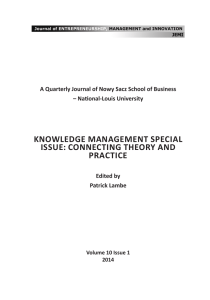 knowledge management special issue: connecting theory and practice