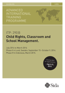 Child Rights, Classroom and School Management.