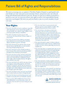 Patient Bill of Rights and Responsibilities