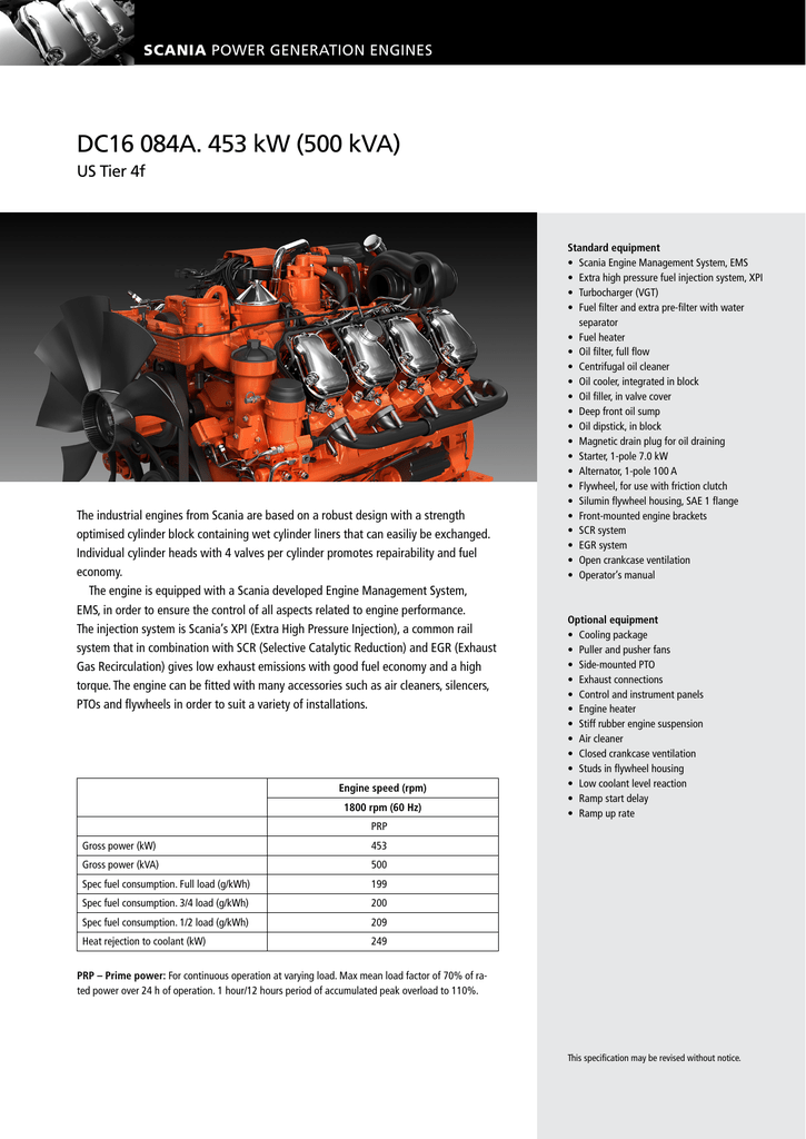 DC16 084A  453 kW (500 kVA)