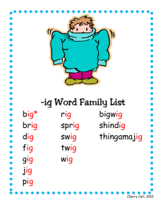 -ig Word Family List