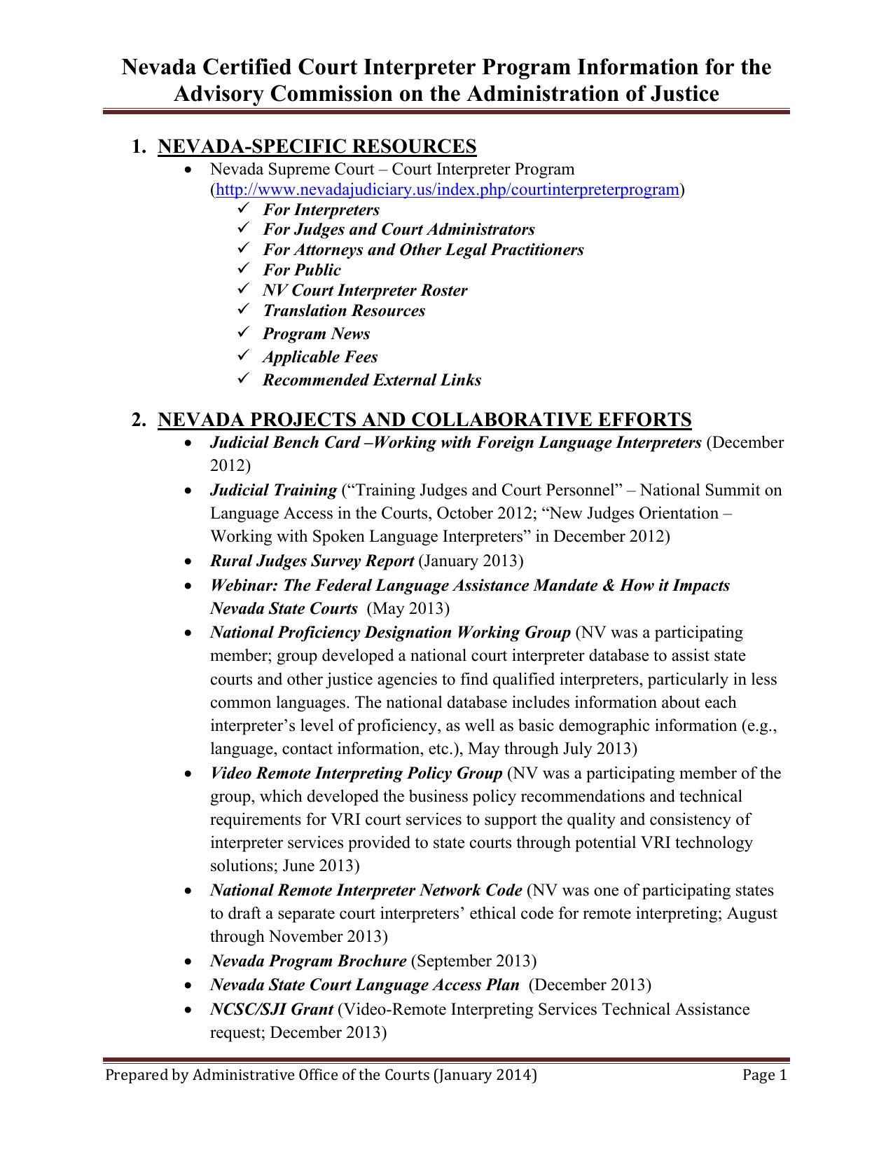 Nevada Certified Court Interpreter Program Information For The