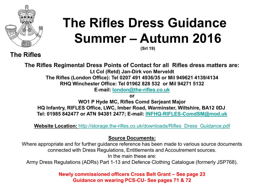 Rifles Regimental Dress Guidance