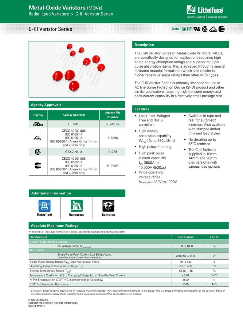 Littelfuse-v275la20cp-Metal Oxide Varistore