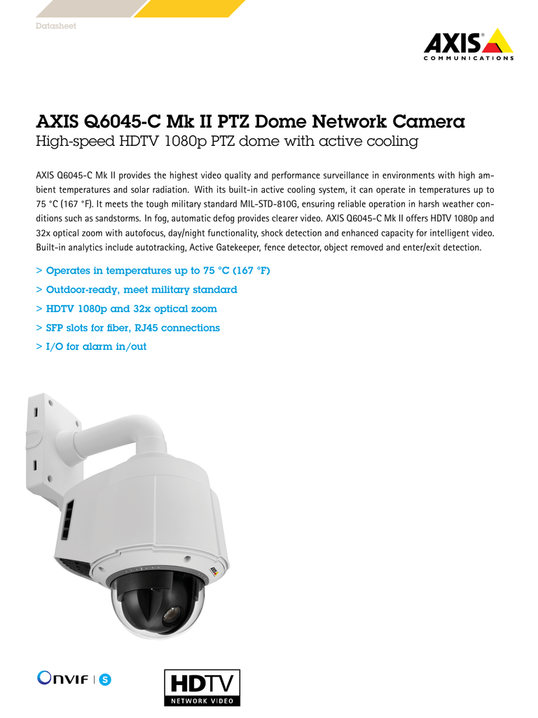 AXIS Q6045-C Mk II Network Camera Drivers (2019)