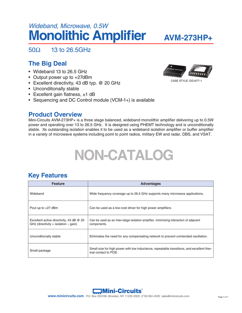 Non Catalog Mini Circuits Circuit Amplifiers