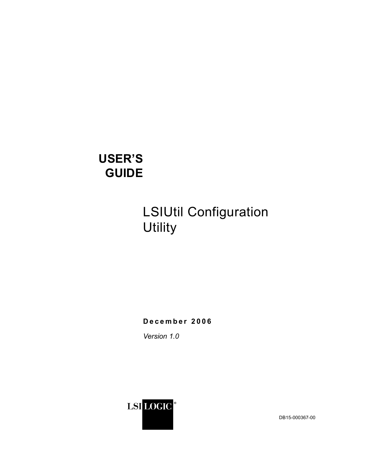 LSIUtil Configuration Utility User`s Guide - Thomas