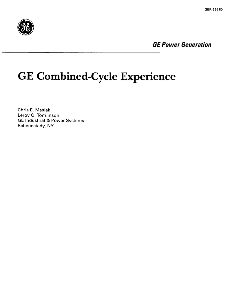 GER 3651D GE bined Cycle Experience