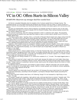 VC in OC: Often Starts in Silicon Valley