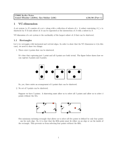 Lecture 4/28 VC-dimension part 1