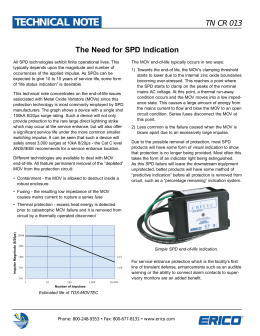 Technical Note TN CR 013, The need for SPD indication