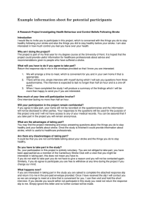 Example information sheet for potential participants