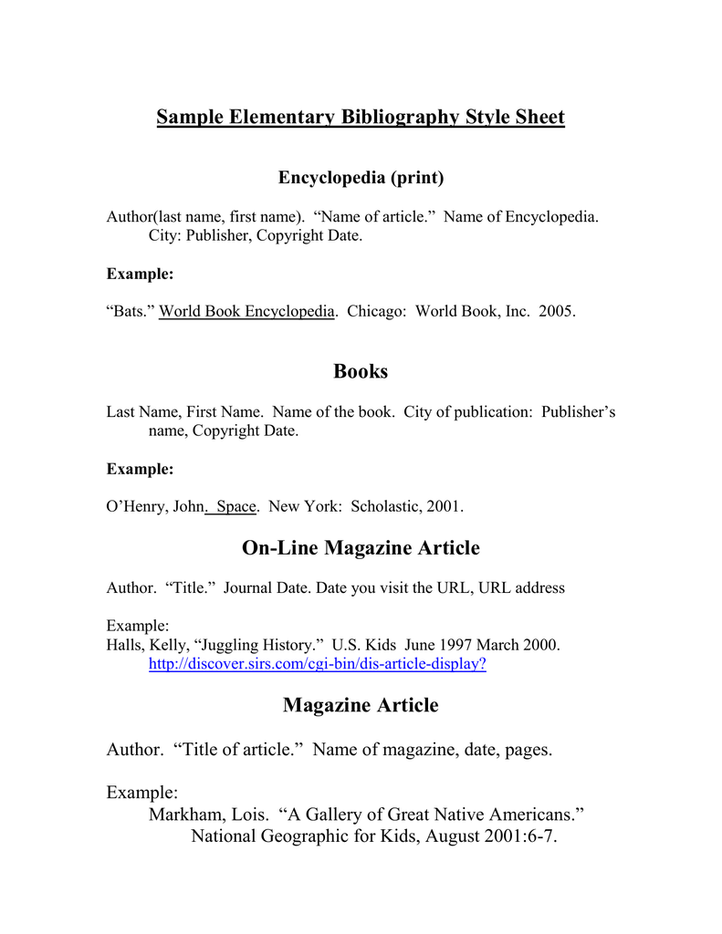 bibliography template for 3rd grade