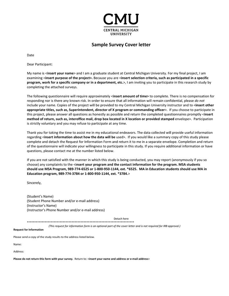 Sample Survey Cover letter - Central Michigan University