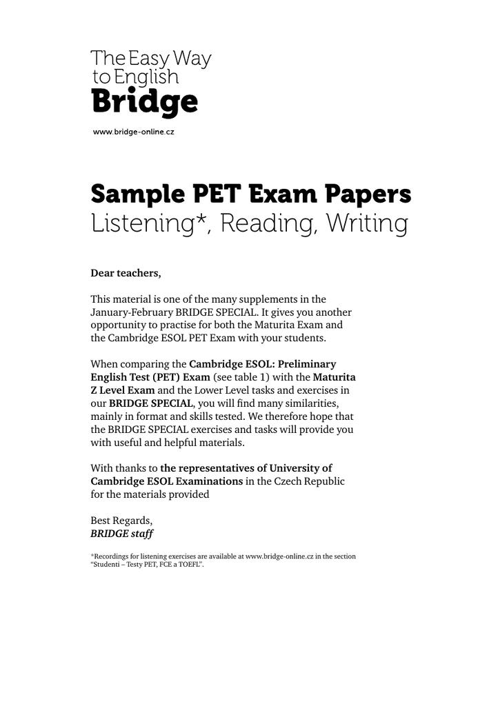 Descargar pet sample test listening pdf | descargarcurso. Com.