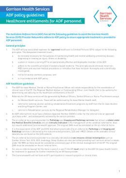 ADF policy guidelines - Medibank Health Solutions