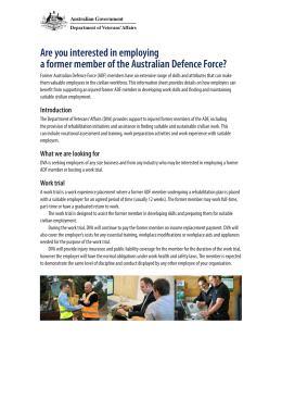 Are you interested in employing a former member of ADF
