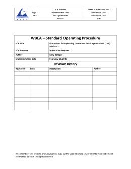 WBEA – Standard Operating Procedure