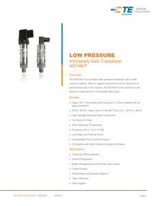 Intrinsically Safe Low Pressure Transmitter