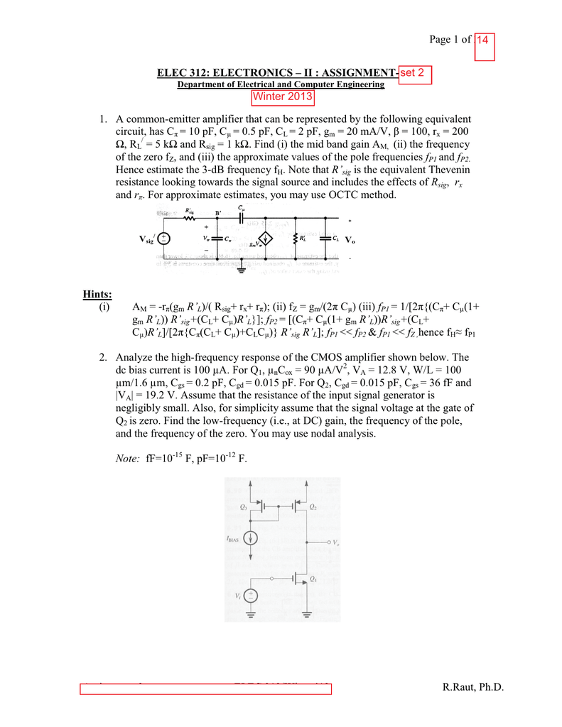 Assn Set 2 Sol Or Hint Resistance Rl Find Thevenin Equivalent Circuit For The Following