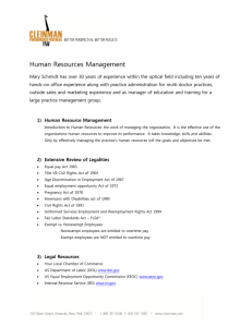 Human Resources Management - Cleinman Performance Partners