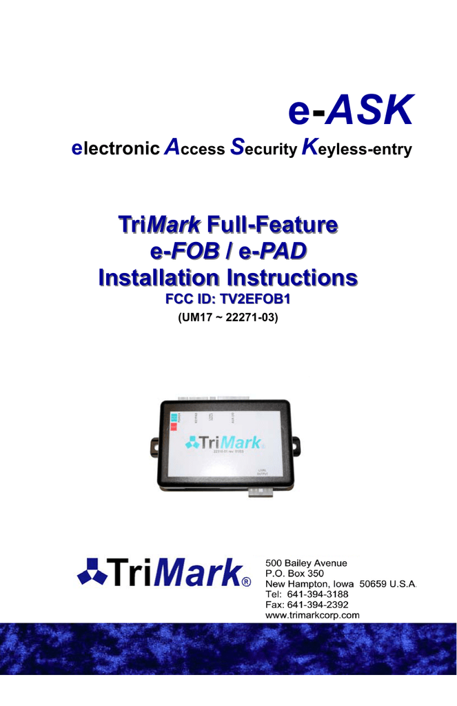 trimark full feature e fob e pad installation instructions  trimark keypad wiring diagram #8