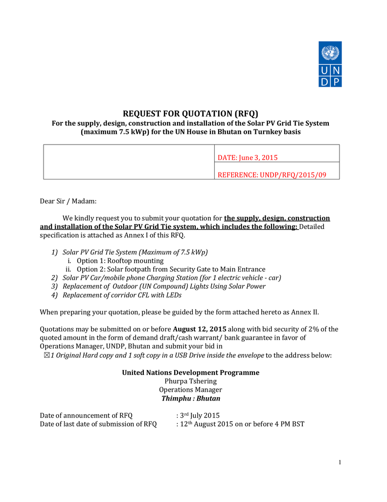 Request For Quotation Rfq Building Wiring