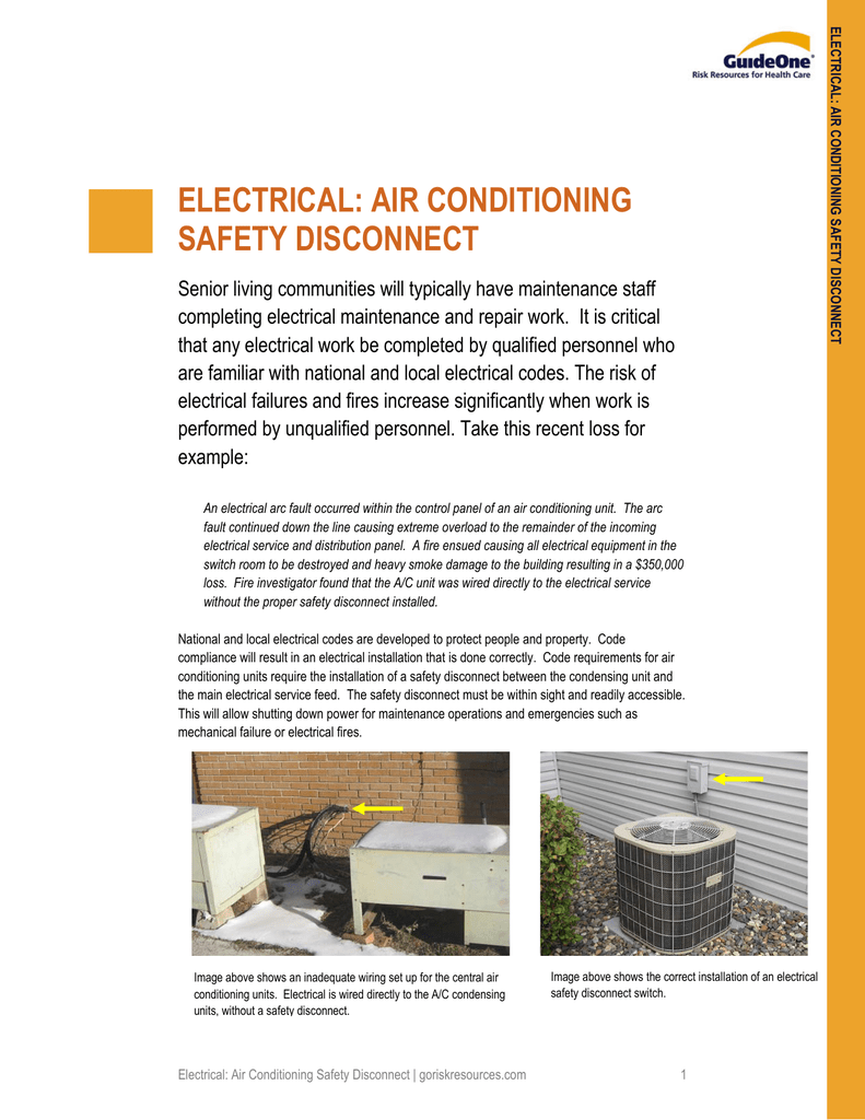 electrical: air conditioning safety disconnect