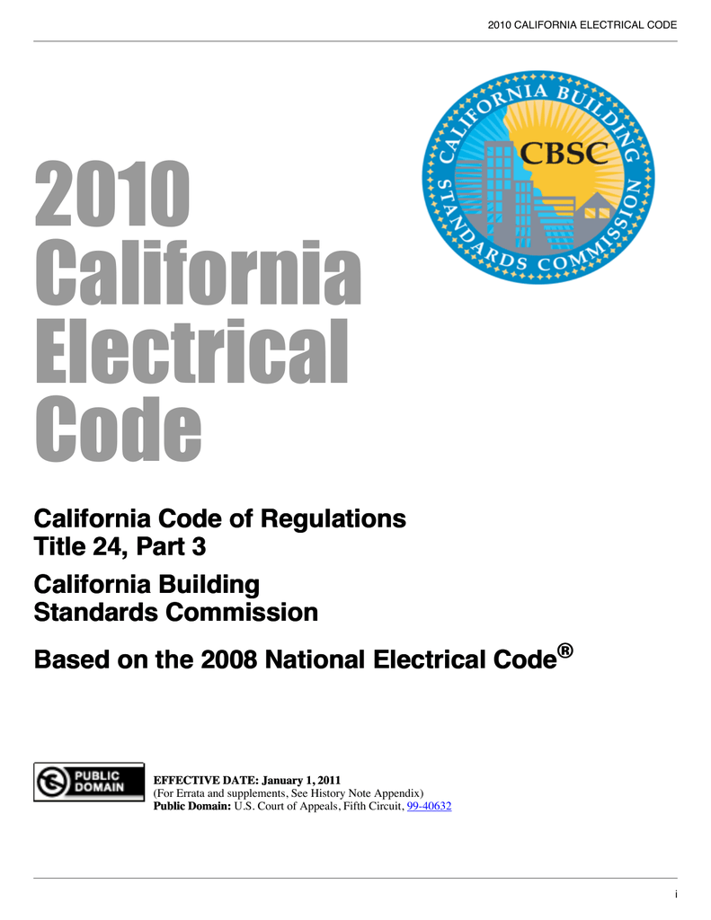 California 2010 Electrical Code on