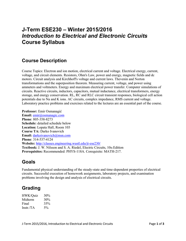 Syllabus Engineering School Class Web Sites Electric Circuits Website