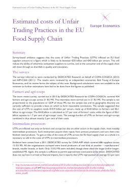 Estimated costs of Unfair Trading Practices in the EU Food Supply