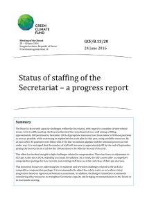 Status of staffing of the Secretariat – a progress report