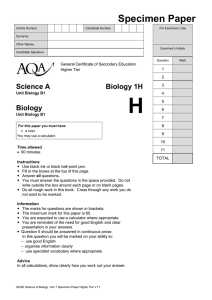 GCSE Biology Specimen Question Paper Biology Unit 1 Higher