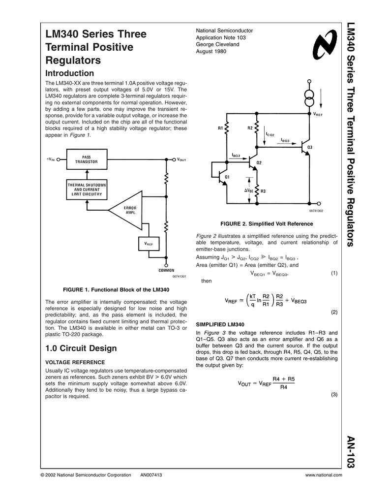 Application Note 103 Lm340 Series Three Terminal Positive Following Circuit Diagram Show Two Comparator Circuits Using The Lm101