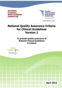 National Quality Assurance Criteria for Clinical Guidelines Version 2