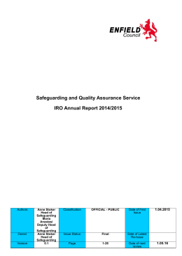 Safeguarding and Quality Assurance Service IRO Annual Report