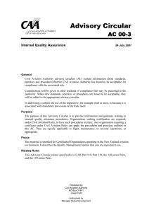 AC00-3 Internal Quality Assurance - Civil Aviation Authority of New