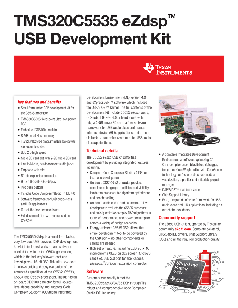TMS320C5535 eZdsp™ USB Development Kit
