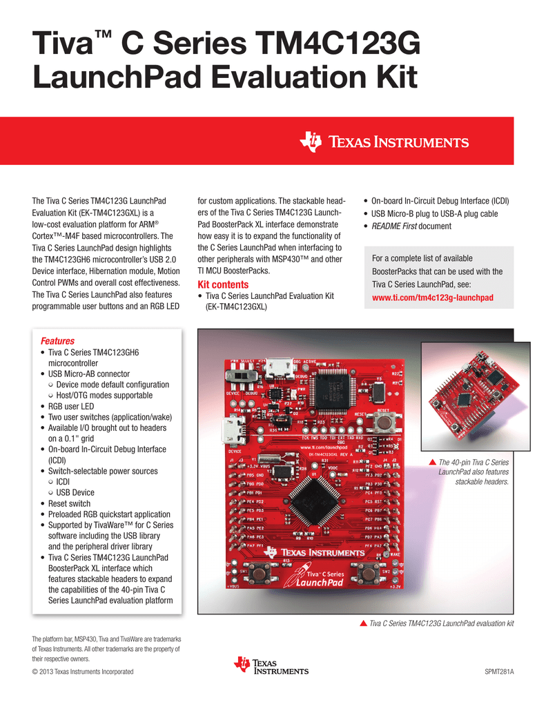 Tiva C Series TM4C123G LaunchPad Evaluation Kit