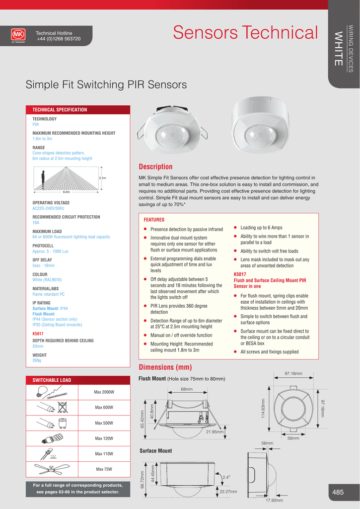 MK K5030F switching pir sensor  flush